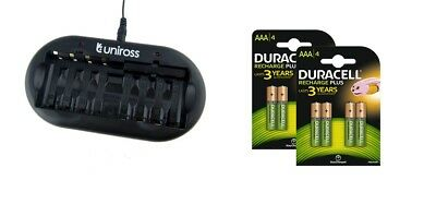 UNiROSS 8 Position  FAST AA/AAA BATTERY CHARGER & 8 x AAA DURACELL BATTERIES