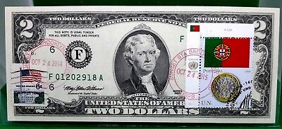 Money Us $2 Dollars 1995 Federal Reserve Note  Coin And Flag Portugal Gem Unc