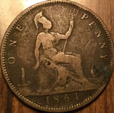 1861 UK GB GREAT BRITAIN VICTORIA ONE PENNY - With some details