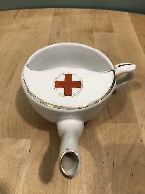 Antique Invalid Feeder Cup: Red Cross with Gold Accents