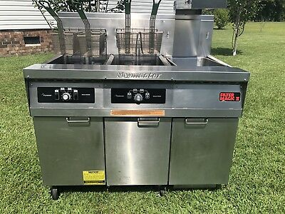 Frymaster Double Fryer Model # FMH250SC, Natural Gas, Filter Magic! Xtra CLEAN