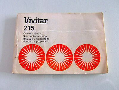 Vintage Vivitar 215 Automatic Camera Flash Owner's Manual Small Booklet