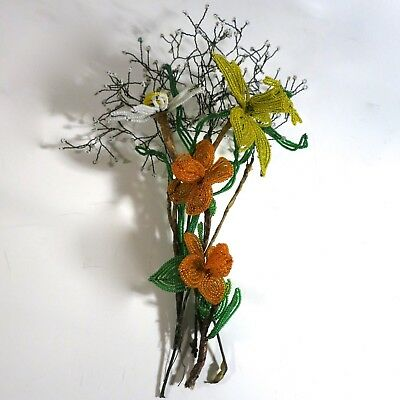 Lot French Hand Beaded Flowers (C)