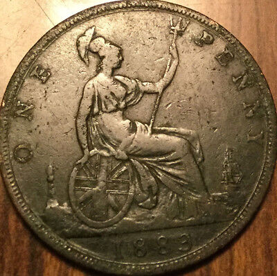 1883 UK GB GREAT BRITAIN VICTORIA ONE PENNY - A dark example