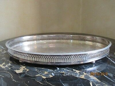 distressed silver plate gothic gallery tray with bun feet 15 1/4 x10 1/4 inch