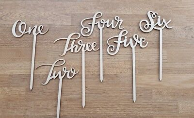 Natural rustic wood lasercut Wedding table decorations numbers one-six.Used once