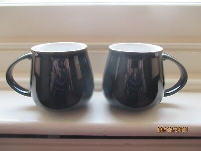 pair of denby lustre seaweed colour mugs height 3 3/4 inches
