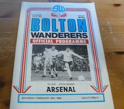 Bolton Wanderers v Arsenal - FA Cup 5th round 16/02/1980 - Programme