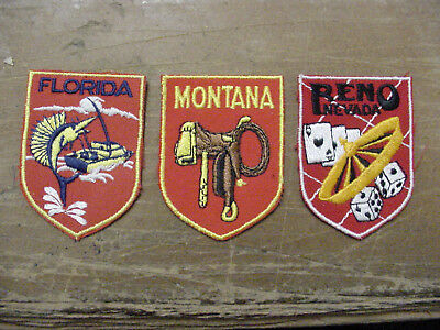 LOT 3 Vintage Montana State Patch + FLORIDA PATCH + RENO PATCH Embroidered/IRON