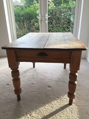 Antique . Pine Scrub Top Farmhouse Table With Small Drawer
