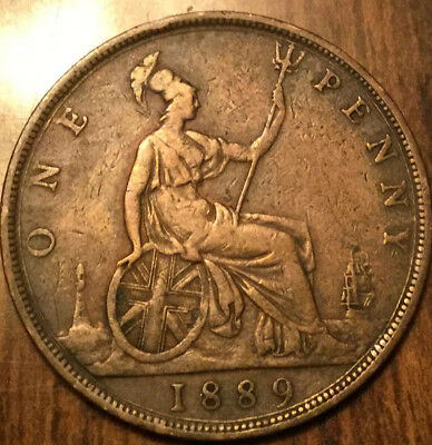 1889 UK GB GREAT BRITAIN VICTORIA ONE PENNY - With some details