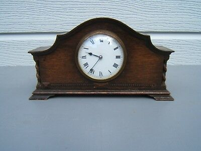 """Mantle clock vintage French ceramic face 6"""" high X 11"""" wide wind up nice    M10"""