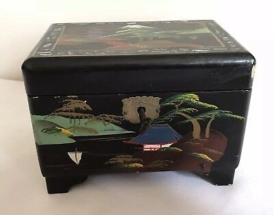 Vintage Oriental Musical Lacquered Jewellery Boxoriginal Key Fullly Working