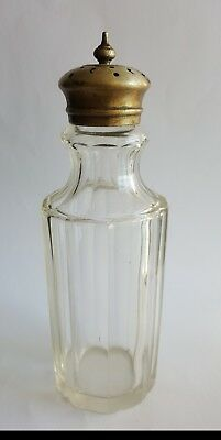 Vintage Antique Cut Glass Bottle Perfume Shaker Silver Decorative Top