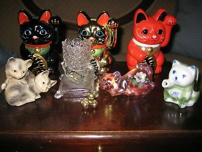 Nice CAT COLLECTION, Fenton, Glass, EAPG, Lucky Cat Banks, Japan, Brass, Vintage