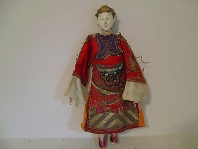 Vintage Chinese Lady Doll With Hoop Attached Red Embroidered Clothing