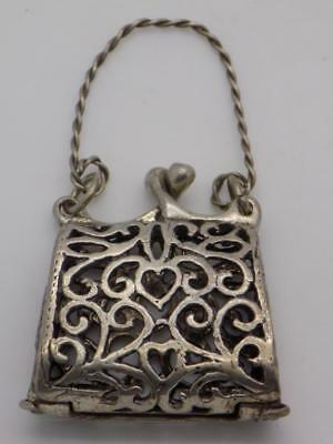 Vintage Solid Silver Italian Made Purse Shaped Pill / Snuff Box, Stamped