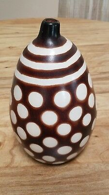 Vintage Chulucanas Peru Peruvian Pottery Vase Circles And Stripes Design Signed