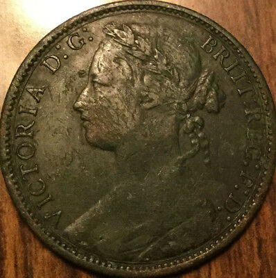1875 UK GB GREAT BRITAIN VICTORIA ONE PENNY Good details but also with corrosion