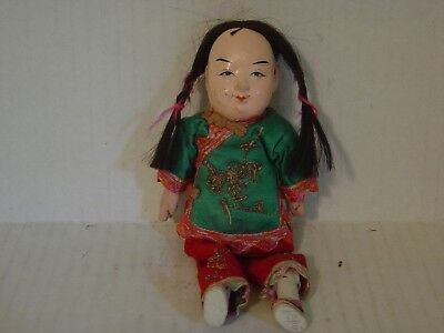 Vintage Chinese Boy Doll With Pigtails And  Silk Clothing