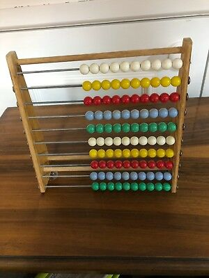Vintage Abacus 24cm Sq, Wood With Plastic Beads For Maths Calculations And Play