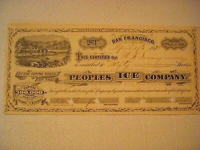 Peoples Ice Company, Issued Certificate #281 for 50 Shares, 1880, San Francisco