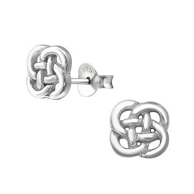 Sterling Silver 925 Round 7mm Celtic Knot Stud Earrings