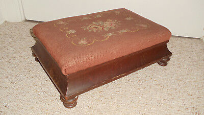 Antique Floral Needlepoint Mahogany Foot Stool Ottoman 11 X 16 & 6 Inches tall