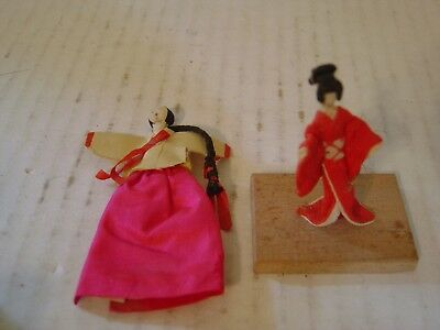 Two Vintage Miniature Japanese Dolls One Mounted On Wood