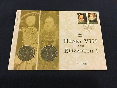 2009 Royal Mail Royal Mint PNC, Henry VIII & Elizabeth I, £5 x2 Coin/Stamp FDC