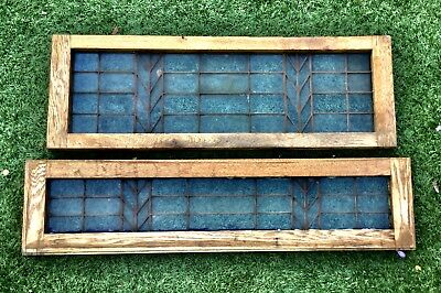 2 Lead Glass Windows From Midland Bank In Wooden Frames