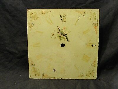 ANTIQUE 12inch LONG CASE CLOCK DIAL with hand painted song bird