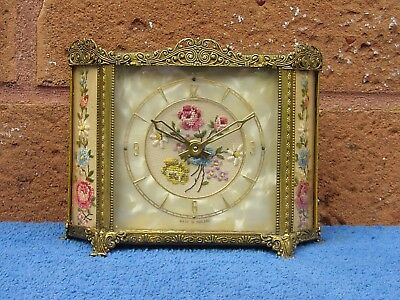 Lovely Vintage Petit Point Roses Filigree Vanity Dressing Table Wind Up Clock.
