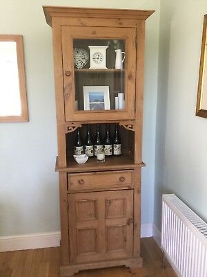 Beautiful Old Pine Glazed Display Storage Cabinet with drawer good clean used