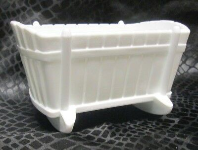 Indiana Glass 1950s White Bassinet Crib Baby Vintage Milk Glass Cradle  dish