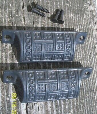 Pair Of Nice Looking Antique Cast Iron Drawer Pulls, Black Paint, W/screws, #2