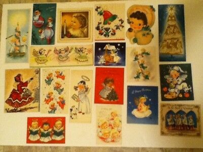 Vintage Lot Of 18 Christmas Greeting Cards Pre Owned