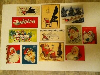 Vintage Lot Of 12 Christmas Greeting Cards Santa  Pre Owned Used