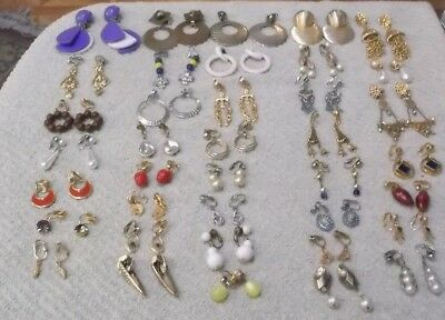 Vintage To Now Lot Of 38 Pairs Of Dangle Clip-On Earrings