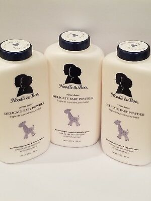lot of 3 Noodle & Boo Delicate Baby Powder 250g. 8.8 oz. NEW and SEALED