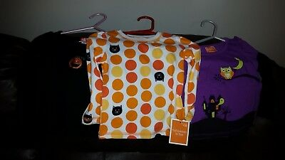 Lot of three 12 MONTH Halloween long-sleeve shirts (one new w/ tag)