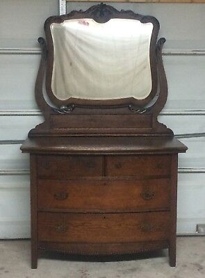Beautiful vintage antique solid oak dresser with harp mirror