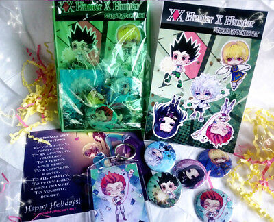 Hunter X Hunter Anime Gift Set - Buttons Keychain Stickers Bundle
