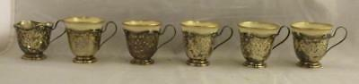 Vtg Lot of 6 Wallace Sterling Silver Demitasse Cups with Lenox China Inserts