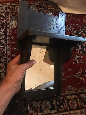 1800s Aesthetic Movement Period Wall Shelf Mirror Etched Carved Ebony Black 19C