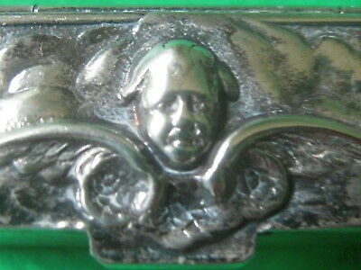 Vintage Sterling Silver Small Retangular 'Angel' Box Vermeil Interior Excellent