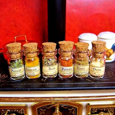 New Dollhouse 6 Spices In Glass Bottles, Cork Stoppers Charming In The Kitchen