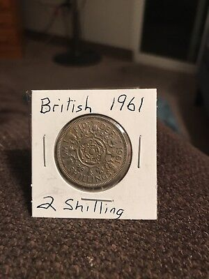 1961  Uk Great Britain 🇬🇧 Florin Two Shilling Coin
