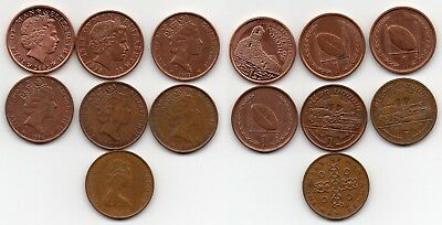 Isle Of Man British Dependency 2002 1998 1997 1996 1990 1988 And 1975 1 Penny