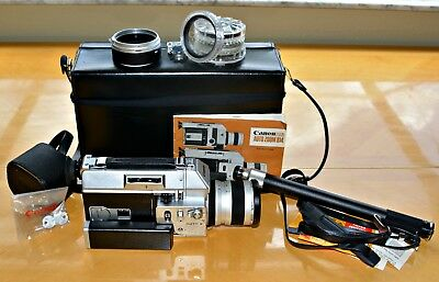 Vintage Canon Super 8 Auto Zoom 814 with Case, Many Accessories - Works!